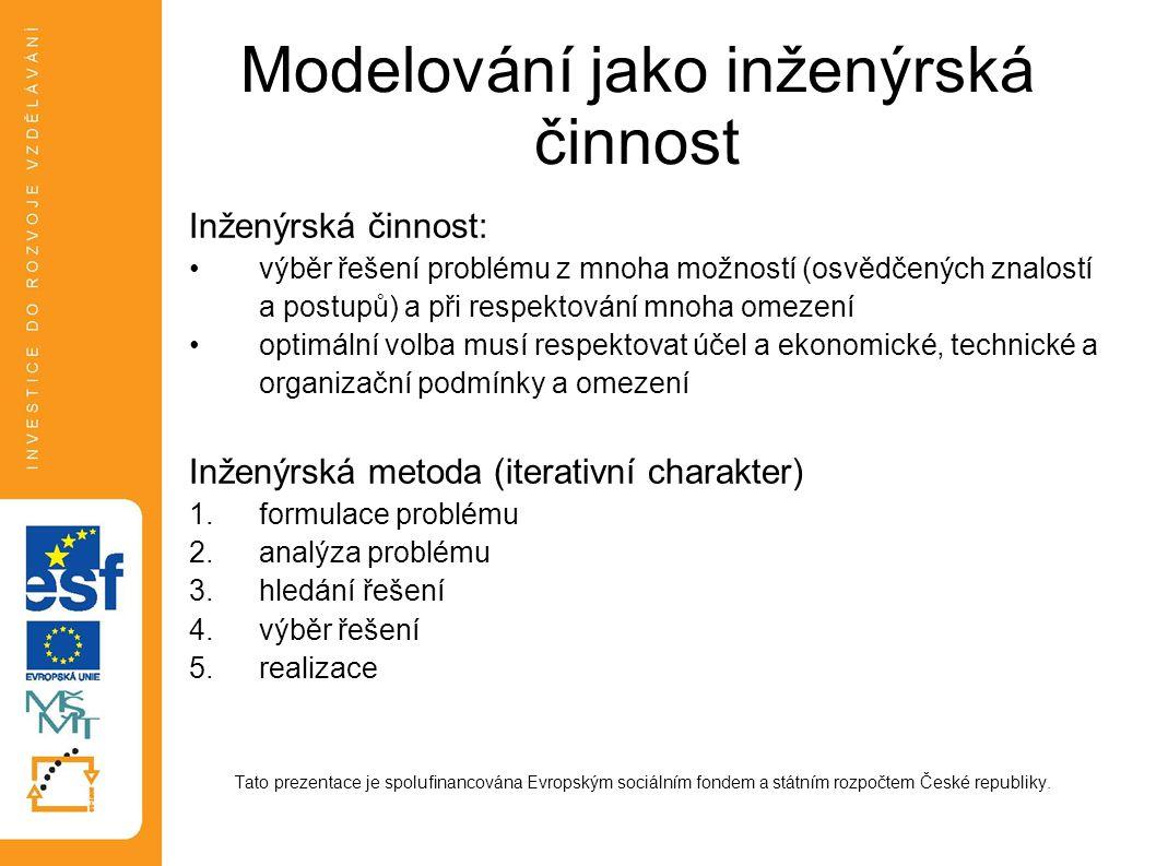 Modelování jako inženýrská činnost Inženýrská činnost: výběr řešení problému z mnoha možností (osvědčených znalostí a postupů) a při respektování mnoh