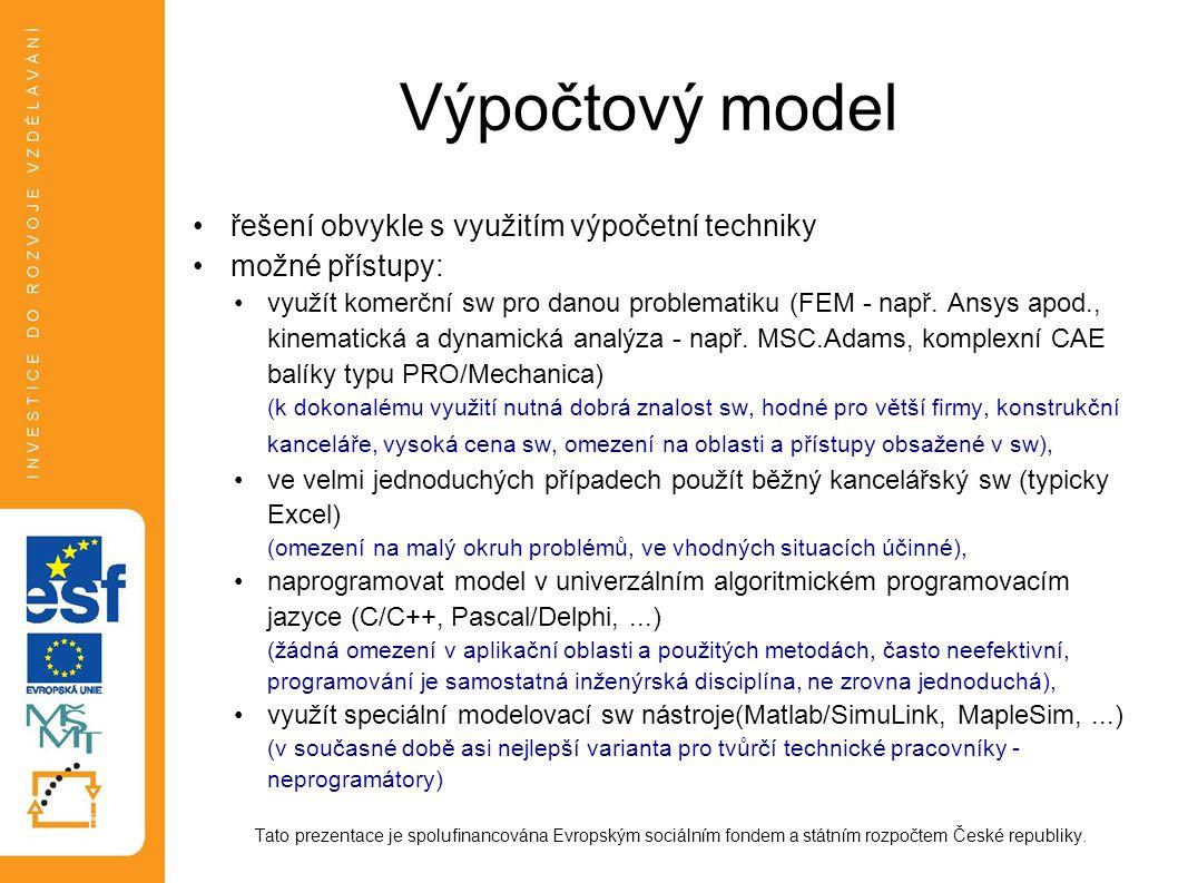Výpočtový model řešení obvykle s využitím výpočetní techniky možné přístupy: využít komerční sw pro danou problematiku (FEM - např. Ansys apod., kinem