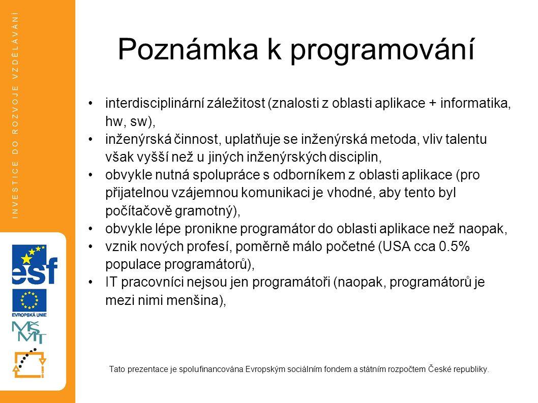 Poznámka k programování interdisciplinární záležitost (znalosti z oblasti aplikace + informatika, hw, sw), inženýrská činnost, uplatňuje se inženýrská