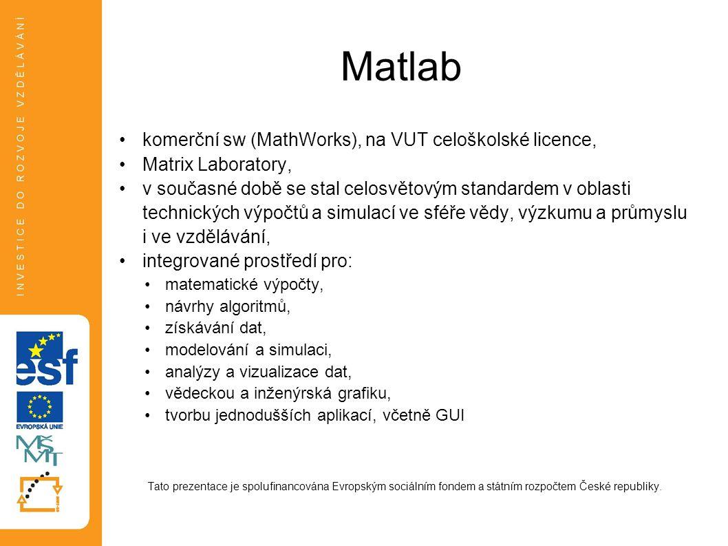 Matlab komerční sw (MathWorks), na VUT celoškolské licence, Matrix Laboratory, v současné době se stal celosvětovým standardem v oblasti technických v
