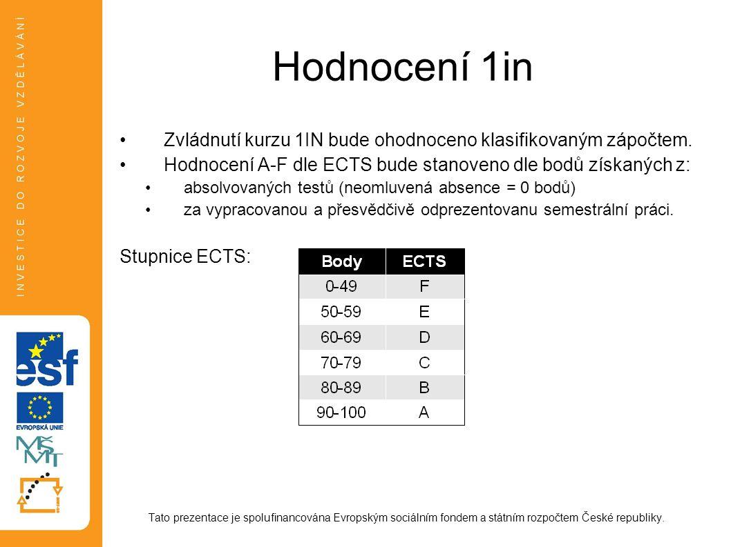 Hodnocení 1in Zvládnutí kurzu 1IN bude ohodnoceno klasifikovaným zápočtem. Hodnocení A-F dle ECTS bude stanoveno dle bodů získaných z: absolvovaných t