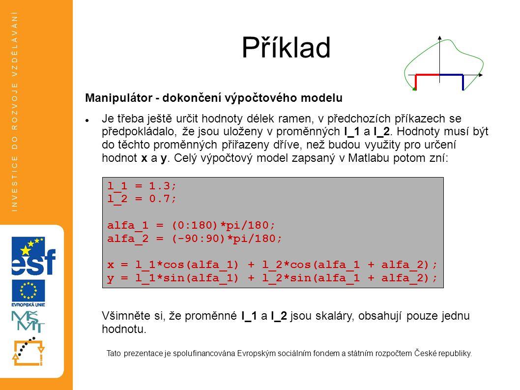 Příklad Manipulátor - dokončení výpočtového modelu Je třeba ještě určit hodnoty délek ramen, v předchozích příkazech se předpokládalo, že jsou uloženy