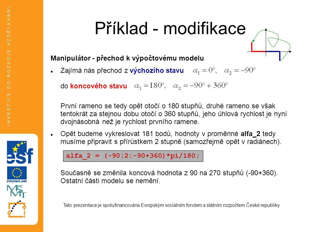 Příklad - modifikace Manipulátor - přechod k výpočtovému modelu Zajímá nás přechod z výchozího stavu do koncového stavu První rameno se tedy opět otoč