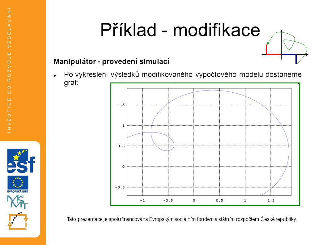 Příklad - modifikace Manipulátor - provedení simulací Po vykreslení výsledků modifikovaného výpočtového modelu dostaneme graf: Tato prezentace je spol