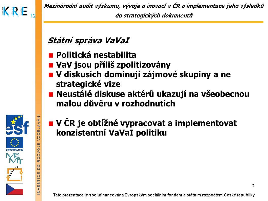 """Mezinárodní audit výzkumu, vývoje a inovací v ČR a implementace jeho výsledků do strategických dokumentů Státní správa VaVaI, vertikální řízení Priority na různých stupních řízení jsou konzistentní Zpřísňuje se hodnocení """"zhora-dolů , roste počet kontrolních mechanismů Stále je podceňován význam hledání dohod a konsensu Obecně je malý zájem o transparentnost procesů Chybí analytická podpora na všech úrovních Hodnocení není výchovné Chybí hodnocení programů, poskytovatelů (princip kaskády) Chybí zákon o státní službě Tato prezentace je spolufinancována Evropským sociálním fondem a státním rozpočtem České republiky 8"""