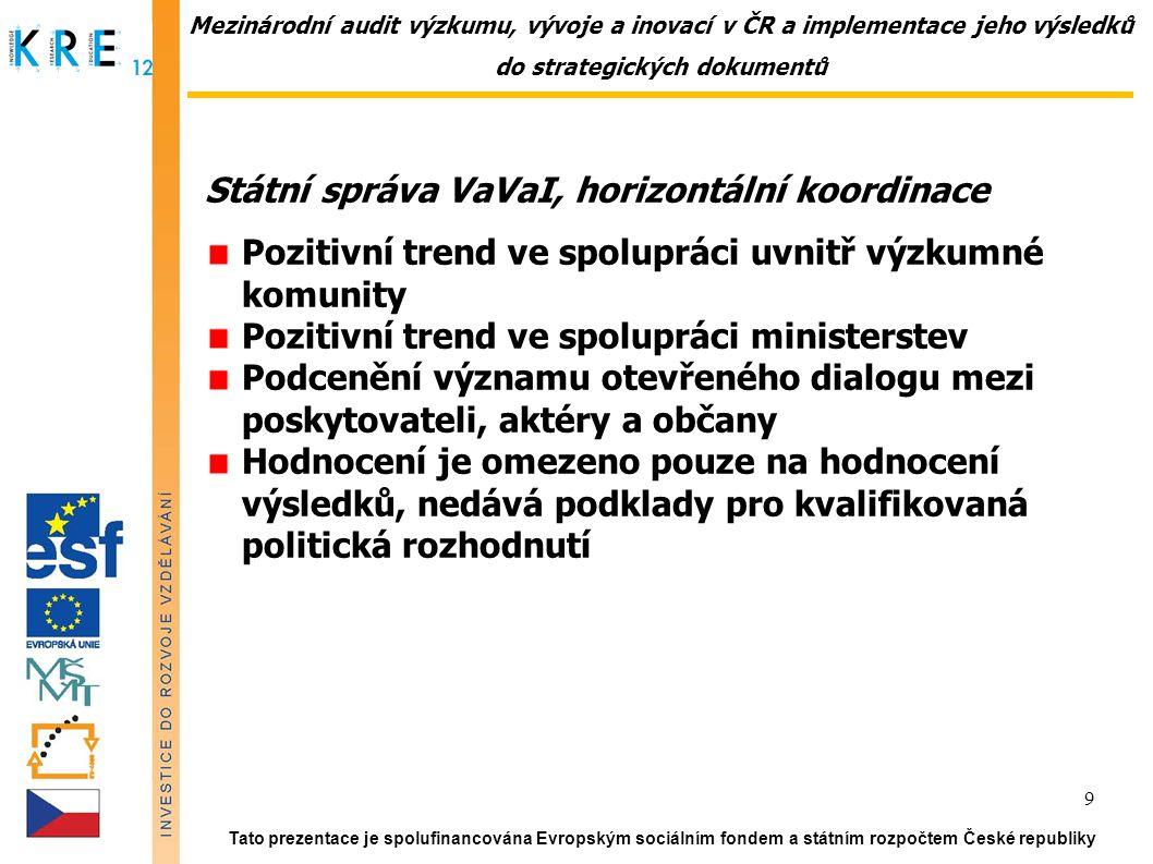 Mezinárodní audit výzkumu, vývoje a inovací v ČR a implementace jeho výsledků do strategických dokumentů Státní správa VaVaI, horizontální koordinace Pozitivní trend ve spolupráci uvnitř výzkumné komunity Pozitivní trend ve spolupráci ministerstev Podcenění významu otevřeného dialogu mezi poskytovateli, aktéry a občany Hodnocení je omezeno pouze na hodnocení výsledků, nedává podklady pro kvalifikovaná politická rozhodnutí Tato prezentace je spolufinancována Evropským sociálním fondem a státním rozpočtem České republiky 9