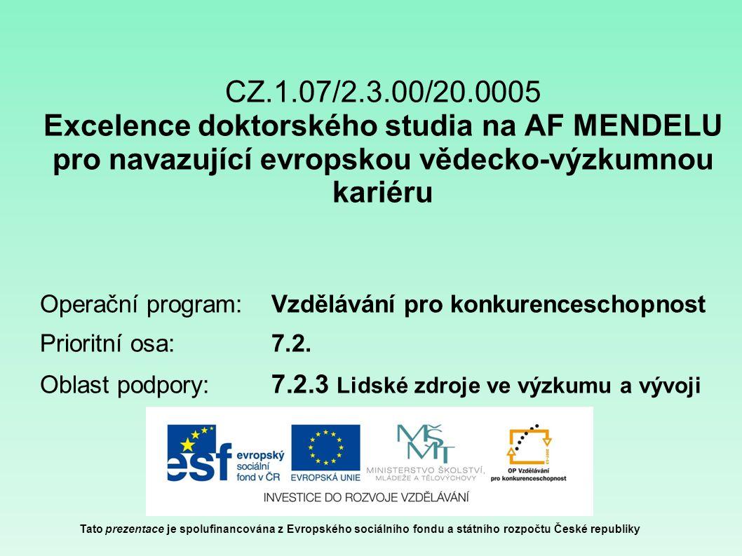 CZ.1.07/2.3.00/20.0005 Excelence doktorského studia na AF MENDELU pro navazující evropskou vědecko-výzkumnou kariéru Operační program: Vzdělávání pro konkurenceschopnost Prioritní osa: 7.2.