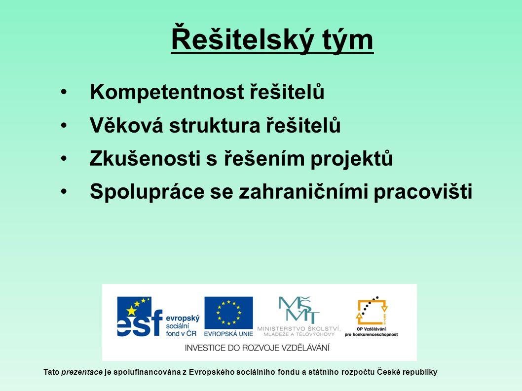 Řešitelský tým Tato prezentace je spolufinancována z Evropského sociálního fondu a státního rozpočtu České republiky Kompetentnost řešitelů Věková struktura řešitelů Zkušenosti s řešením projektů Spolupráce se zahraničními pracovišti