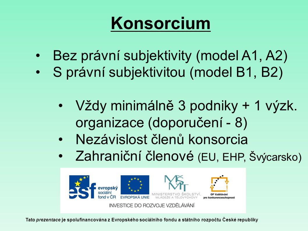 Konsorcium Tato prezentace je spolufinancována z Evropského sociálního fondu a státního rozpočtu České republiky Bez právní subjektivity (model A1, A2) S právní subjektivitou (model B1, B2) Vždy minimálně 3 podniky + 1 výzk.
