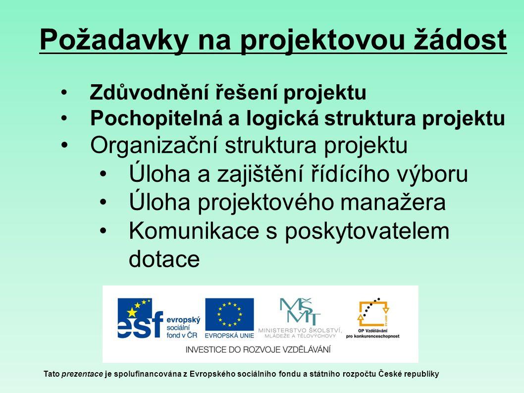 Požadavky na projektovou žádost Tato prezentace je spolufinancována z Evropského sociálního fondu a státního rozpočtu České republiky Zdůvodnění řešen