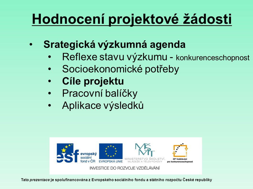 Hodnocení projektové žádosti Tato prezentace je spolufinancována z Evropského sociálního fondu a státního rozpočtu České republiky Srategická výzkumná agenda Reflexe stavu výzkumu - konkurenceschopnost Socioekonomické potřeby Cíle projektu Pracovní balíčky Aplikace výsledků