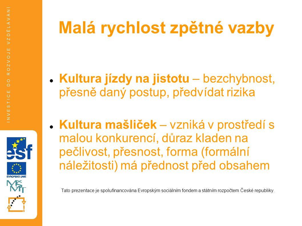 Typologie dle míry rizika a dynamiky Tato prezentace je spolufinancována Evropským sociálním fondem a státním rozpočtem České republiky.
