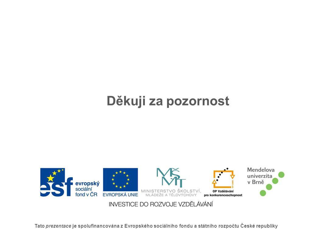 Tato prezentace je spolufinancována z Evropského sociálního fondu a státního rozpočtu České republiky Děkuji za pozornost