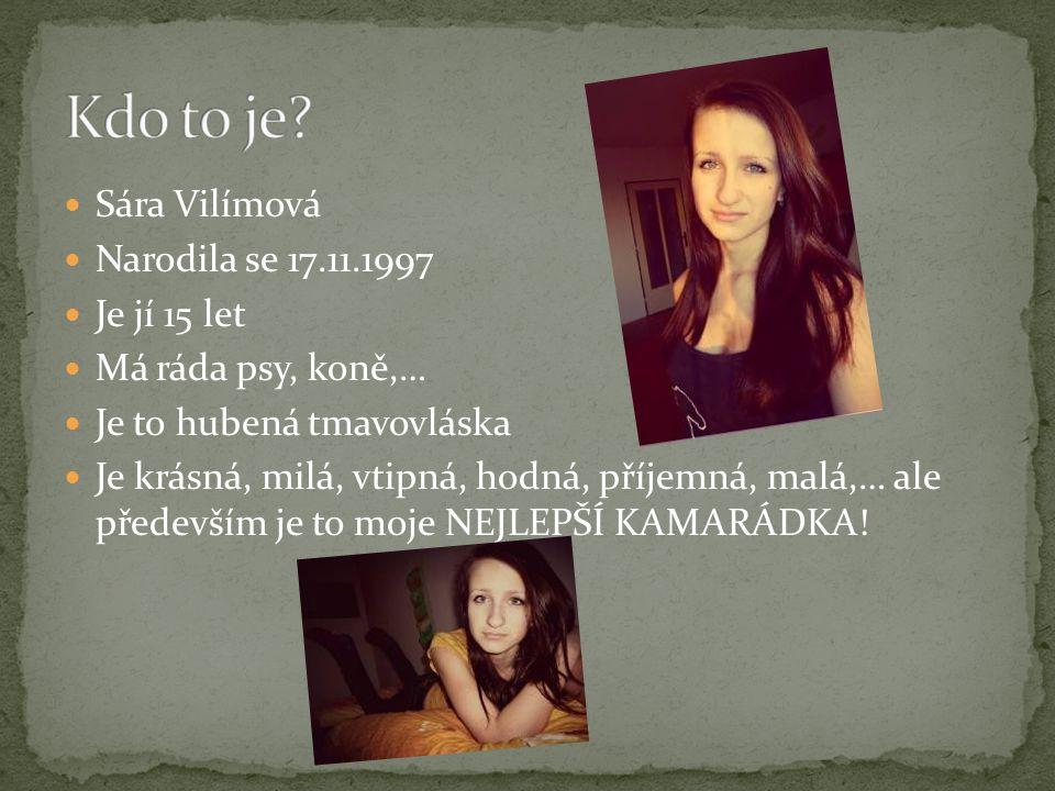 Sára Vilímová Narodila se 17.11.1997 Je jí 15 let Má ráda psy, koně,… Je to hubená tmavovláska Je krásná, milá, vtipná, hodná, příjemná, malá,… ale př