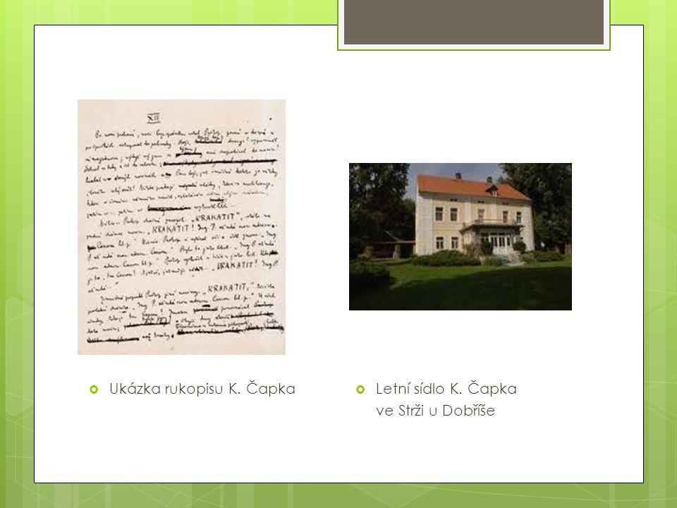  Ukázka rukopisu K. Čapka  Letní sídlo K. Čapka ve Strži u Dobříše