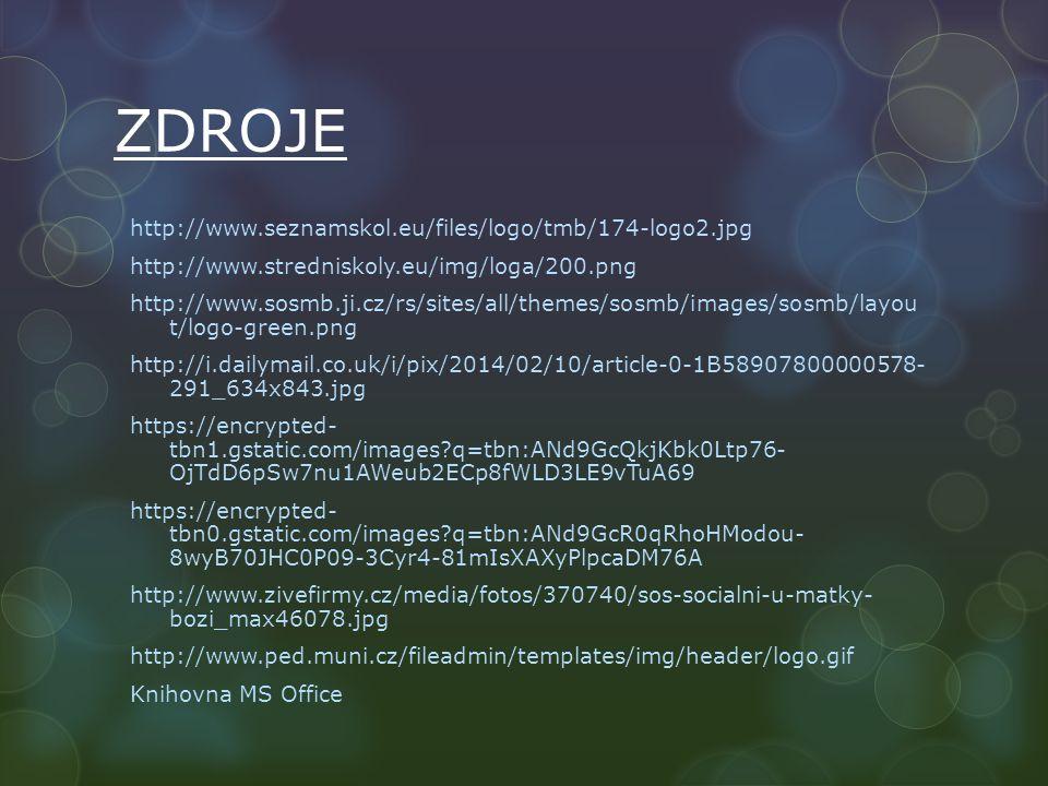 ZDROJE http://www.seznamskol.eu/files/logo/tmb/174-logo2.jpg http://www.stredniskoly.eu/img/loga/200.png http://www.sosmb.ji.cz/rs/sites/all/themes/sosmb/images/sosmb/layou t/logo-green.png http://i.dailymail.co.uk/i/pix/2014/02/10/article-0-1B58907800000578- 291_634x843.jpg https://encrypted- tbn1.gstatic.com/images q=tbn:ANd9GcQkjKbk0Ltp76- OjTdD6pSw7nu1AWeub2ECp8fWLD3LE9vTuA69 https://encrypted- tbn0.gstatic.com/images q=tbn:ANd9GcR0qRhoHModou- 8wyB70JHC0P09-3Cyr4-81mIsXAXyPlpcaDM76A http://www.zivefirmy.cz/media/fotos/370740/sos-socialni-u-matky- bozi_max46078.jpg http://www.ped.muni.cz/fileadmin/templates/img/header/logo.gif Knihovna MS Office