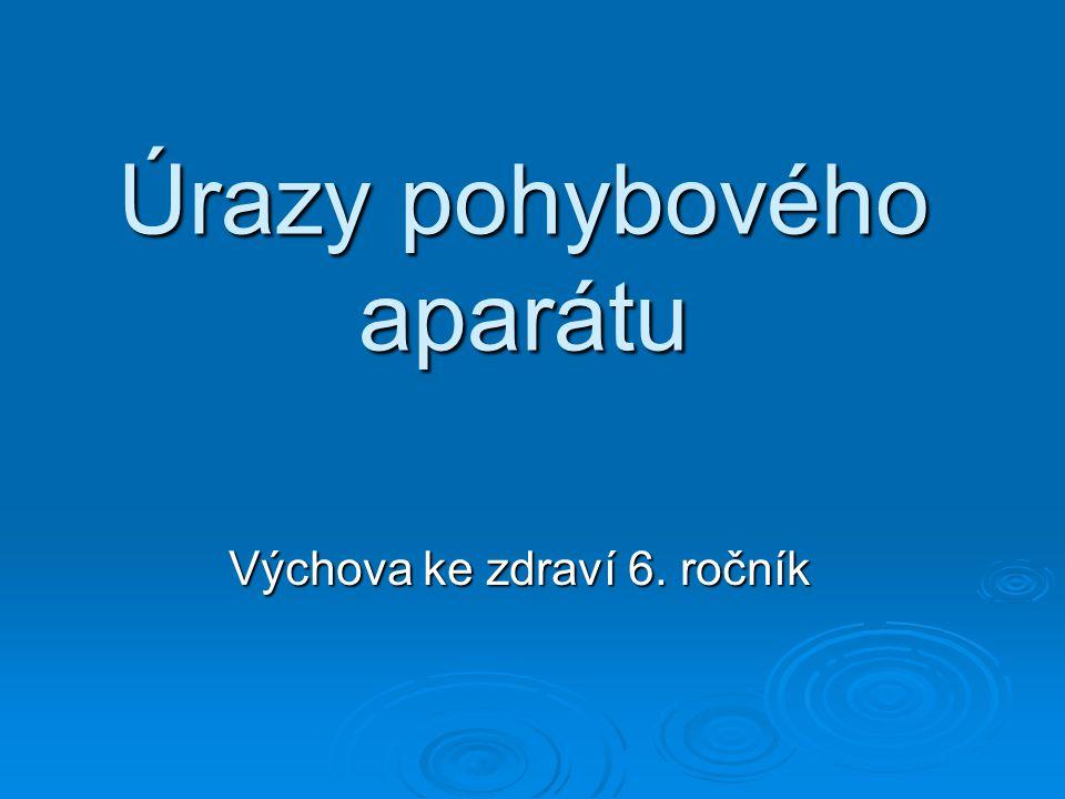 Úrazy pohybového aparátu Výchova ke zdraví 6. ročník
