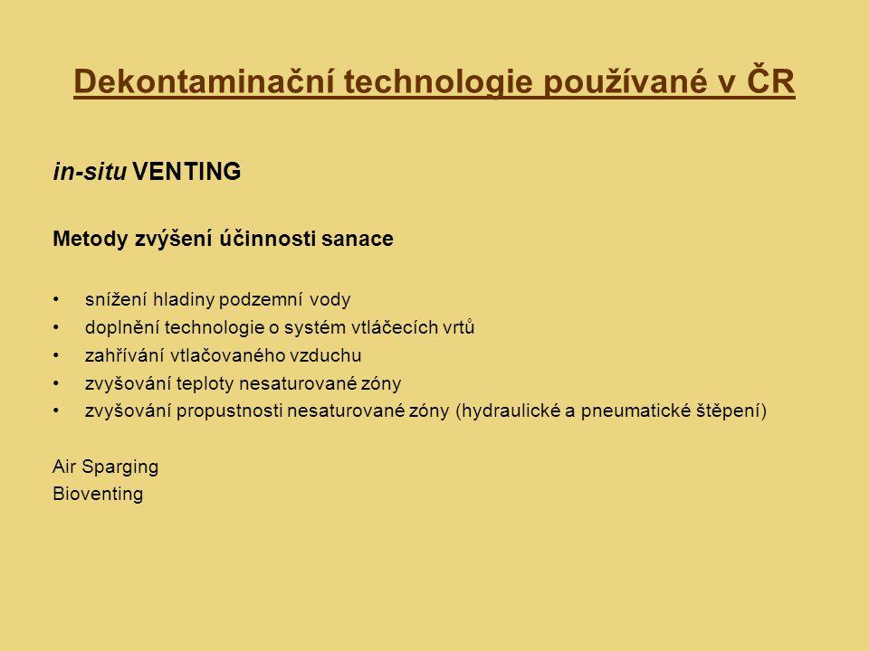 Dekontaminační technologie používané v ČR in-situ VENTING Metody zvýšení účinnosti sanace snížení hladiny podzemní vody doplnění technologie o systém