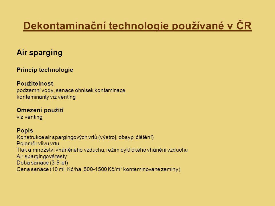 Dekontaminační technologie používané v ČR Air sparging Princip technologie Použitelnost podzemní vody, sanace ohnisek kontaminace kontaminanty viz ven