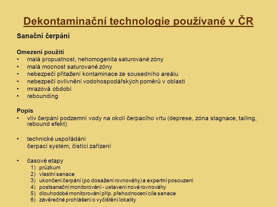 Dekontaminační technologie používané v ČR Sanační čerpání Omezení použití malá propustnost, nehomogenita saturované zóny malá mocnost saturované zóny