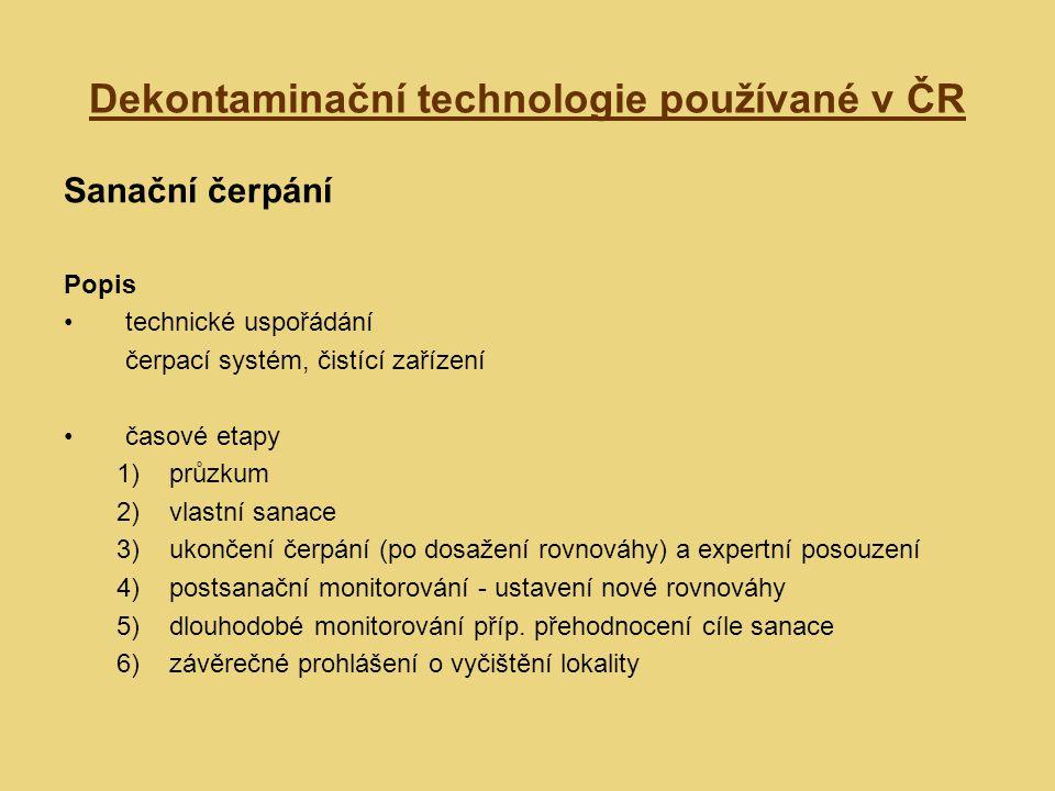 Dekontaminační technologie používané v ČR Sanační čerpání Popis technické uspořádání čerpací systém, čistící zařízení časové etapy 1)průzkum 2)vlastní