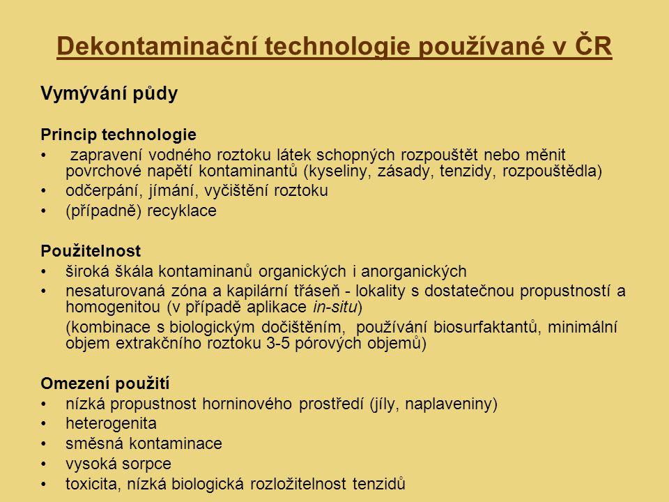 Dekontaminační technologie používané v ČR Vymývání půdy Princip technologie zapravení vodného roztoku látek schopných rozpouštět nebo měnit povrchové