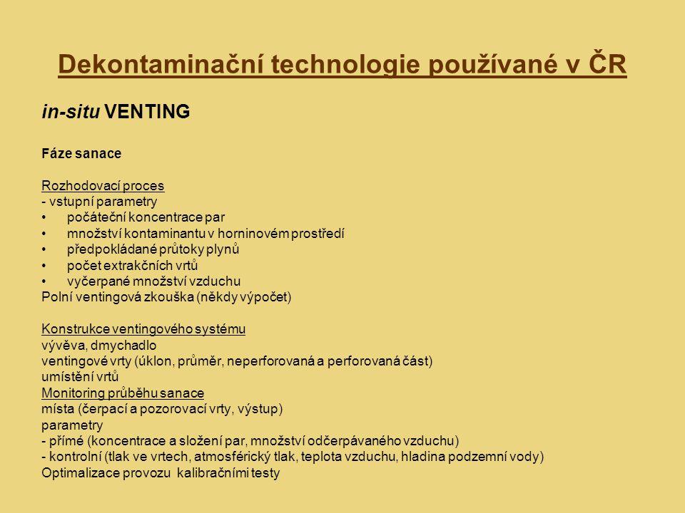 Dekontaminační technologie používané v ČR in-situ VENTING Metody zvýšení účinnosti sanace snížení hladiny podzemní vody doplnění technologie o systém vtláčecích vrtů zahřívání vtlačovaného vzduchu zvyšování teploty nesaturované zóny zvyšování propustnosti nesaturované zóny (hydraulické a pneumatické štěpení) Air Sparging Bioventing