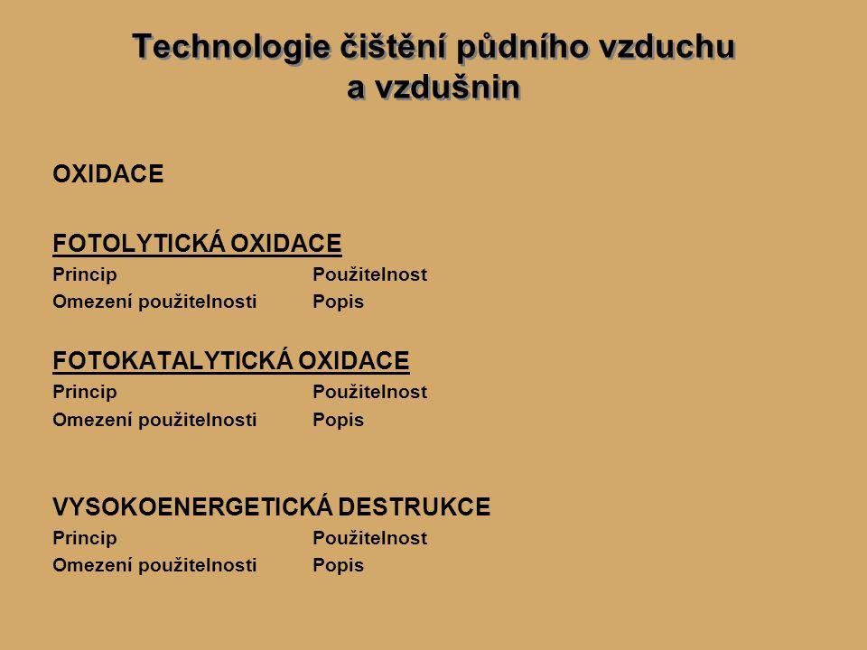 Technologie čištění půdního vzduchu a vzdušnin OXIDACE FOTOLYTICKÁ OXIDACE PrincipPoužitelnost Omezení použitelnostiPopis FOTOKATALYTICKÁ OXIDACE PrincipPoužitelnost Omezení použitelnostiPopis VYSOKOENERGETICKÁ DESTRUKCE PrincipPoužitelnost Omezení použitelnostiPopis