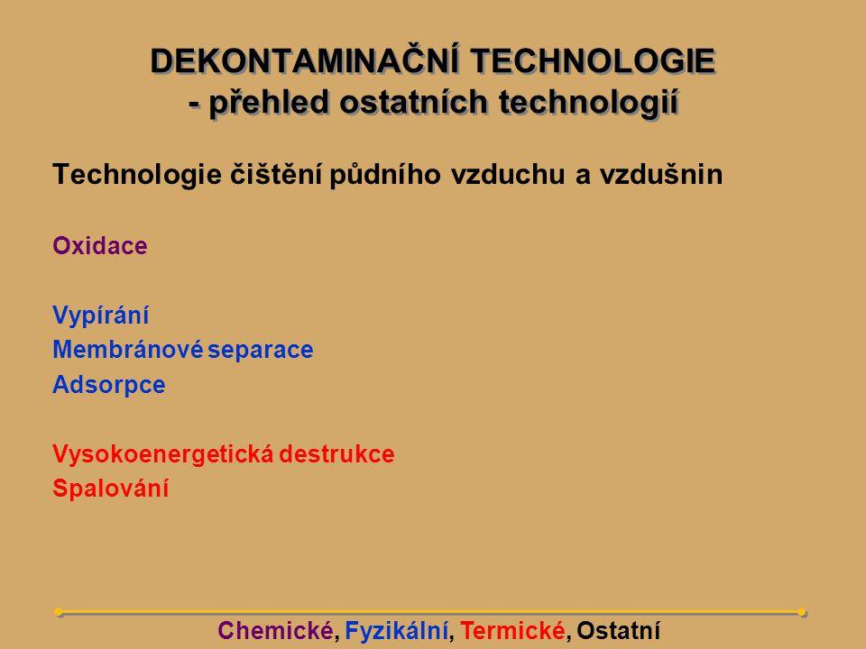 Chemická extrakce (ex-situ)  Chemická oxidace/redukce (ex-situ)  Dehalogenace (ex-situ)  Elektrokinetická dekontaminace (in-situ)  Fyzikálně-mechanická separace (ex-situ)  Narušování struktury, štěpení (in-situ)  Metody tepelného ošetření a tepelné podpory (in-situ)  Vitrifikace (in-situ, ex-situ)  Spalování (vč.