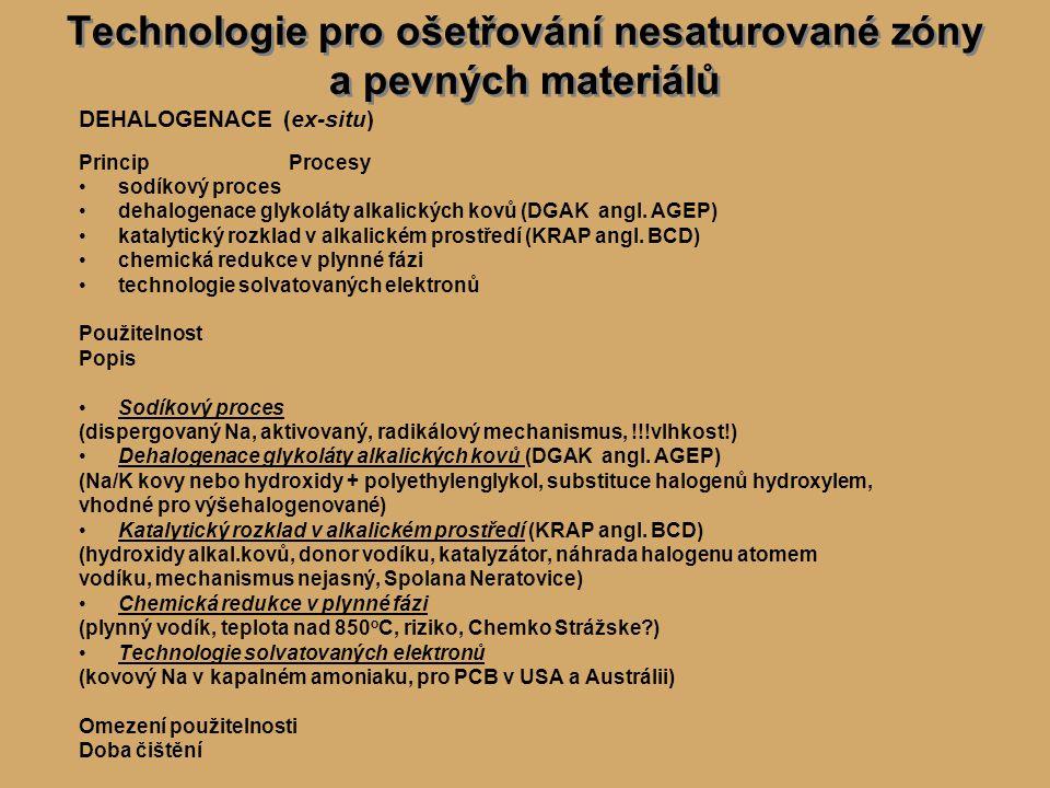 Technologie pro ošetřování nesaturované zóny a pevných materiálů DEHALOGENACE (ex-situ) PrincipProcesy sodíkový proces dehalogenace glykoláty alkalických kovů (DGAK angl.
