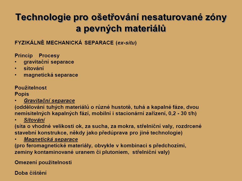 Technologie čištění podzemních vod a průsakových vod CHEMICKÁ OXIDACE (ex-situ) PrincipPoužitelnost Omezení použitelnosti Popiszvláštní přednáška (v rámci ISCO) SRÁŽENÍ, KOAGULACE, FLOKULACE, FLOTACE (ex-situ) PrincipPoužitelnost Omezení použitelnosti Popispostupy primárně využívané v technologii výroby pitné vody a čištění odpadních vod VÝMĚNA IONTŮ (ex-situ) PrincipPoužitelnost Omezení použitelnosti Popispostupy primárně využívané při úpravě vod pro chladicí zařízení elektráren ADSORPCE, ABSORPCE (ex-situ) PrincipPoužitelnost Omezení použitelnosti Popis