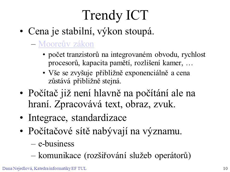 Dana Nejedlová, Katedra informatiky EF TUL10 Trendy ICT Cena je stabilní, výkon stoupá. –Mooreův zákonMooreův zákon počet tranzistorů na integrovaném