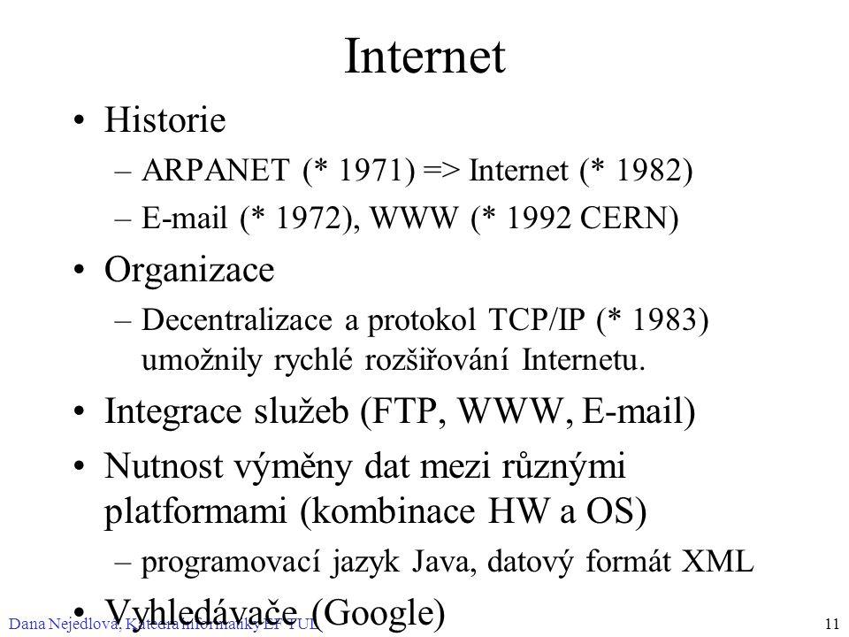 Dana Nejedlová, Katedra informatiky EF TUL11 Internet Historie –ARPANET (* 1971) => Internet (* 1982) –E-mail (* 1972), WWW (* 1992 CERN) Organizace –Decentralizace a protokol TCP/IP (* 1983) umožnily rychlé rozšiřování Internetu.