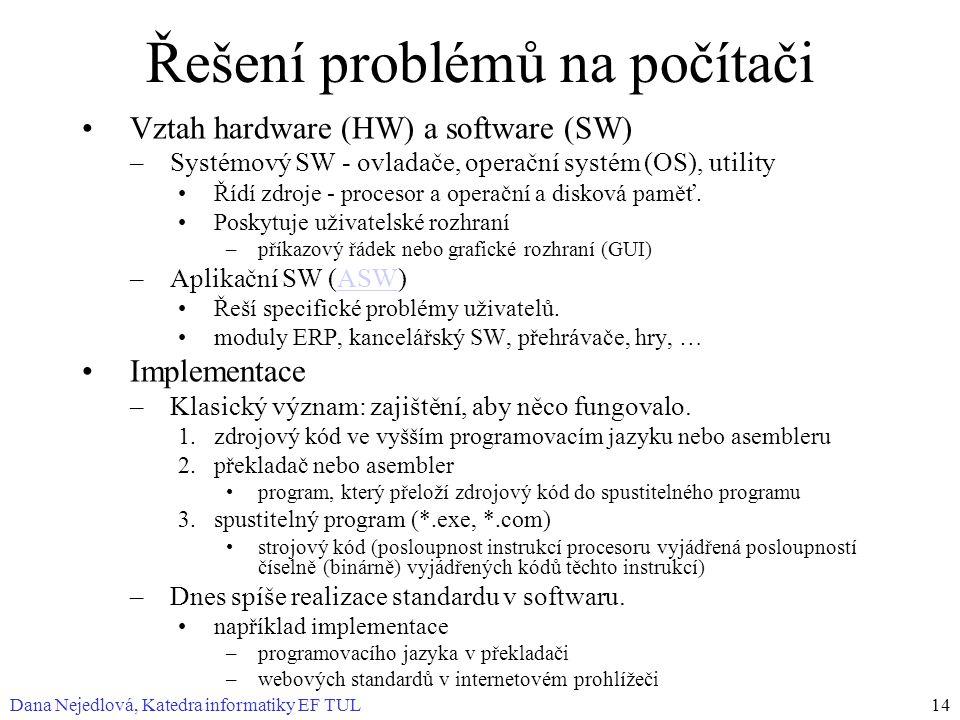 Dana Nejedlová, Katedra informatiky EF TUL14 Řešení problémů na počítači Vztah hardware (HW) a software (SW) –Systémový SW - ovladače, operační systém (OS), utility Řídí zdroje - procesor a operační a disková paměť.