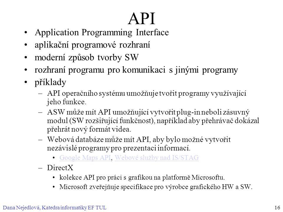 Dana Nejedlová, Katedra informatiky EF TUL16 API Application Programming Interface aplikační programové rozhraní moderní způsob tvorby SW rozhraní programu pro komunikaci s jinými programy příklady –API operačního systému umožňuje tvořit programy využívající jeho funkce.