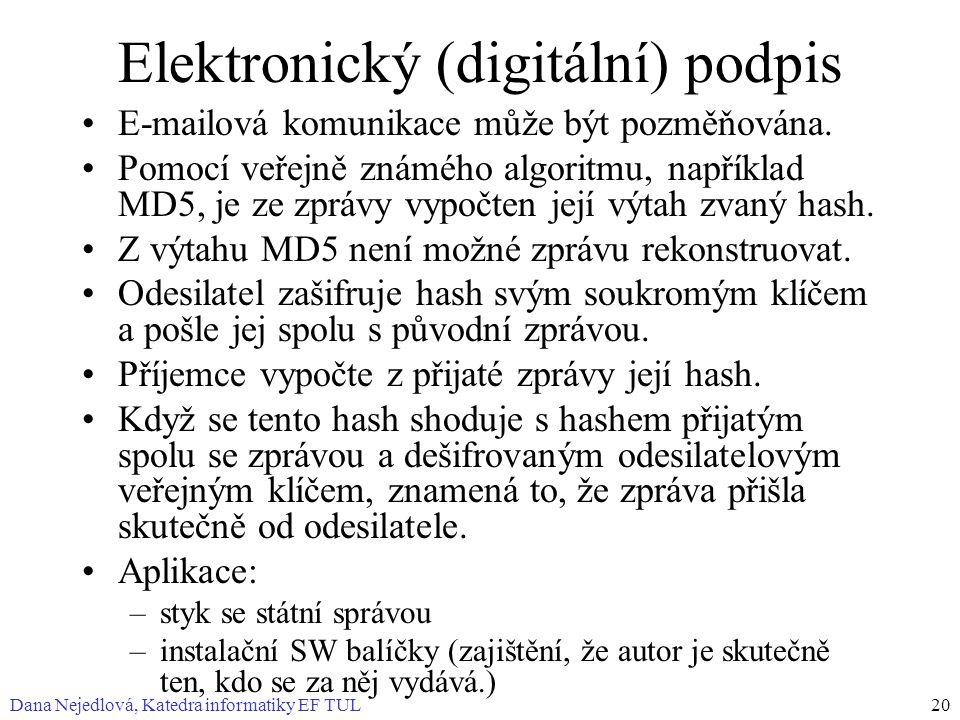 Dana Nejedlová, Katedra informatiky EF TUL20 Elektronický (digitální) podpis E-mailová komunikace může být pozměňována. Pomocí veřejně známého algorit