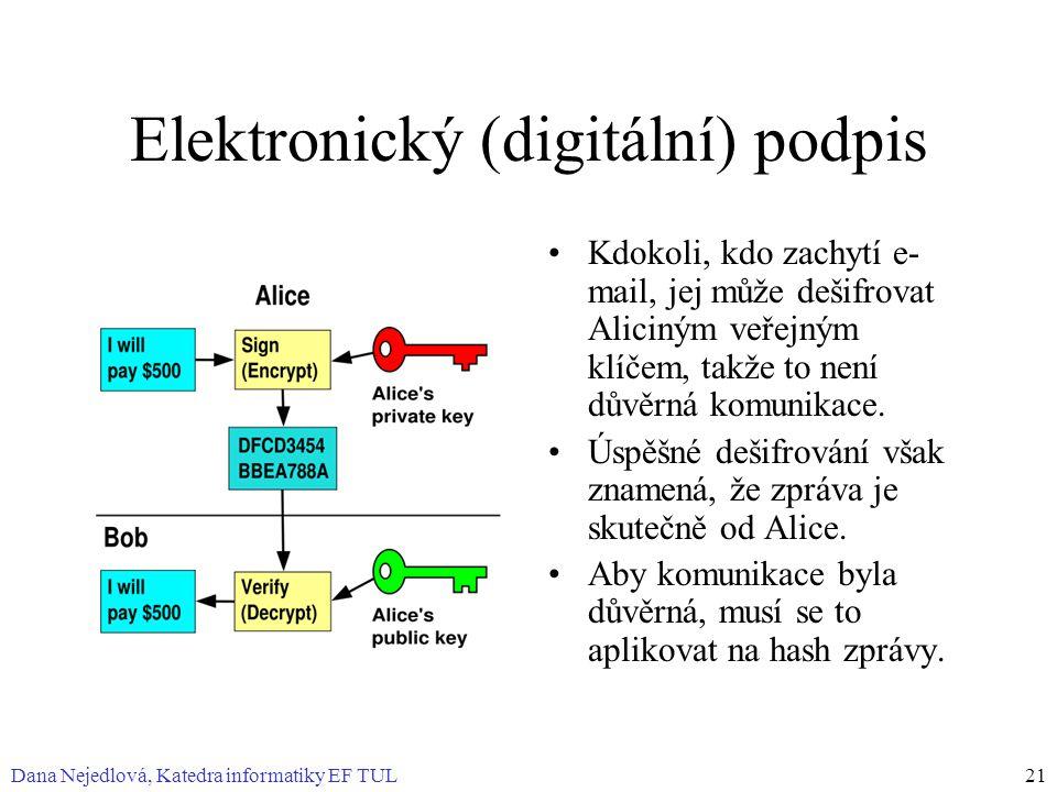 Dana Nejedlová, Katedra informatiky EF TUL21 Elektronický (digitální) podpis Kdokoli, kdo zachytí e- mail, jej může dešifrovat Aliciným veřejným klíčem, takže to není důvěrná komunikace.