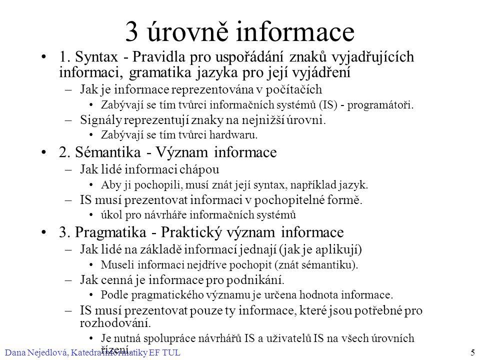 Dana Nejedlová, Katedra informatiky EF TUL5 3 úrovně informace 1. Syntax - Pravidla pro uspořádání znaků vyjadřujících informaci, gramatika jazyka pro