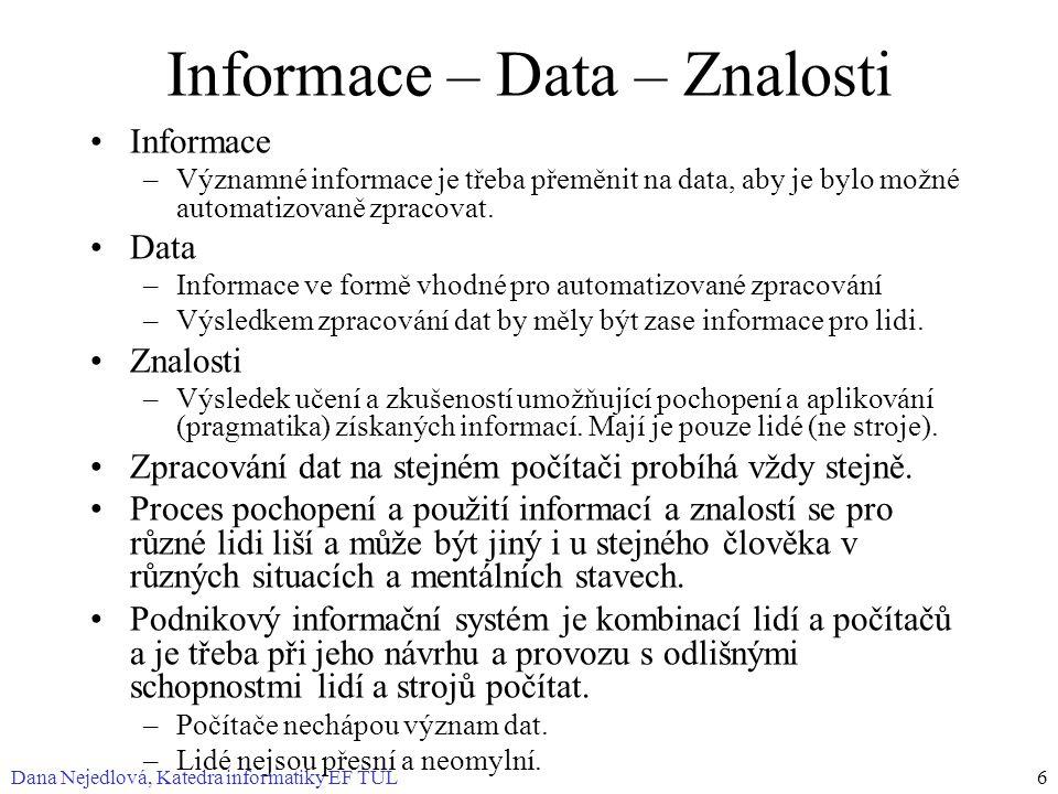 Dana Nejedlová, Katedra informatiky EF TUL6 Informace – Data – Znalosti Informace –Významné informace je třeba přeměnit na data, aby je bylo možné automatizovaně zpracovat.