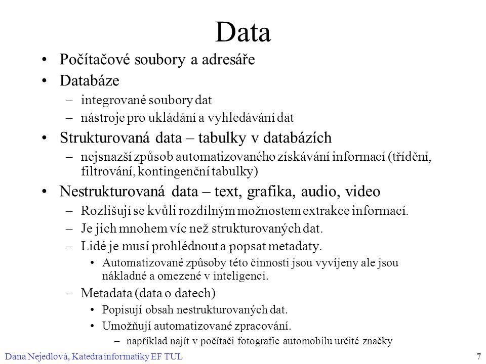 Dana Nejedlová, Katedra informatiky EF TUL7 Data Počítačové soubory a adresáře Databáze –integrované soubory dat –nástroje pro ukládání a vyhledávání dat Strukturovaná data – tabulky v databázích –nejsnazší způsob automatizovaného získávání informací (třídění, filtrování, kontingenční tabulky) Nestrukturovaná data – text, grafika, audio, video –Rozlišují se kvůli rozdílným možnostem extrakce informací.