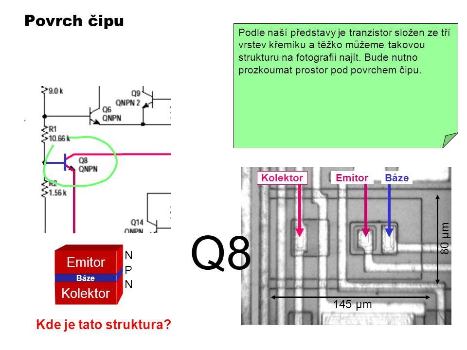 Povrch čipu Detaily struktury čipu nelze vidět volním okem. Musí se použít mikroskop se zvětšením alespoň 10-krát. Při pohledu na povrch čipu vidět je