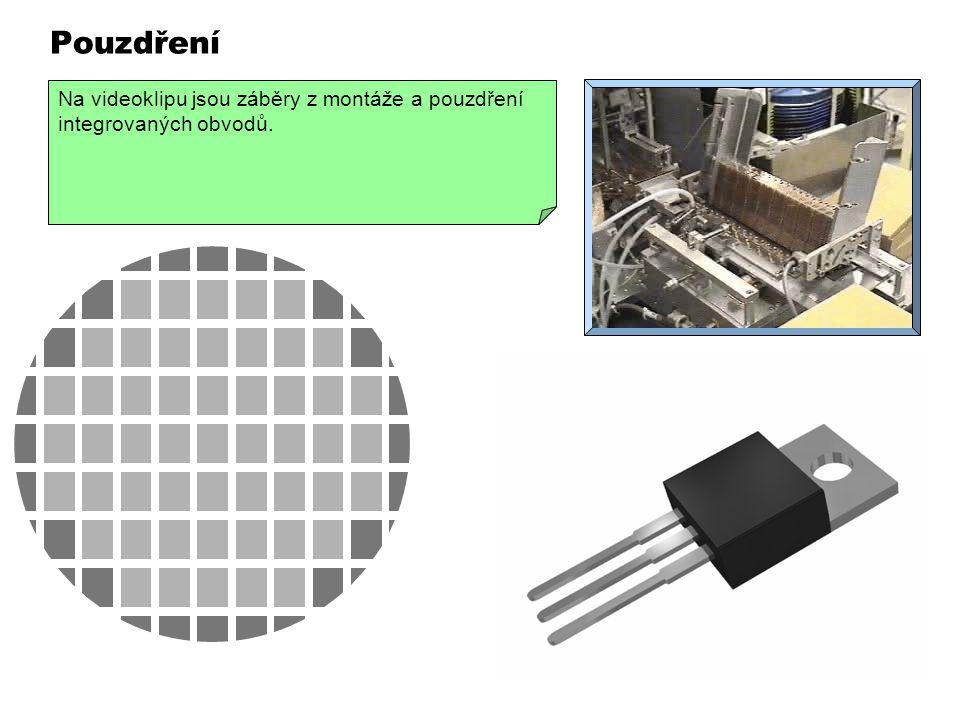 Pouzdření VIDEO 320 x 240 Křemíková deska s vyrobenými čipy se rozřeže diamantovou pilou na jednotlivé čipy. Dobré čipy se připájejí anebo přilepí na