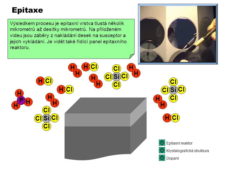 Epitaxe je narůstání vrstvy křemíku na povrchu křemíkové desky. Vrstva má stejné krystalografické vlastnosti jako podložka ale může mít jinou koncentr