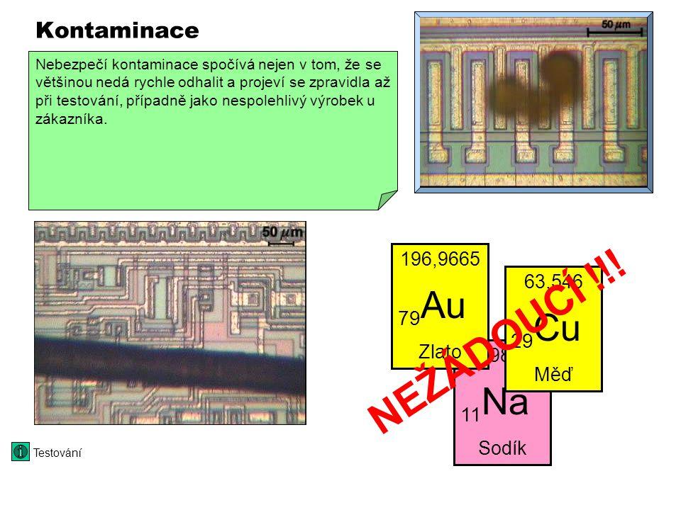 Kontaminace VIDEO 320 x 240 Dopanty bór, fosfor anebo arzén se přidávají do křemíku úmyslně. Jiné prvky jako zlato, měď anebo sodík mohou ovlivnit vla