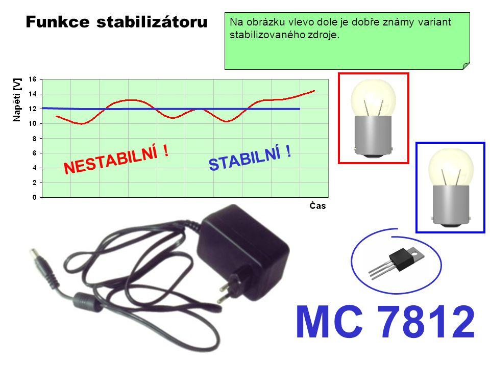 Funkce stabilizátoru MC 7812 Na grafu je znázorněn průběh nestabilního napájecího napětí - žárovka bliká. S takovým napájením by mnohá elektronická za