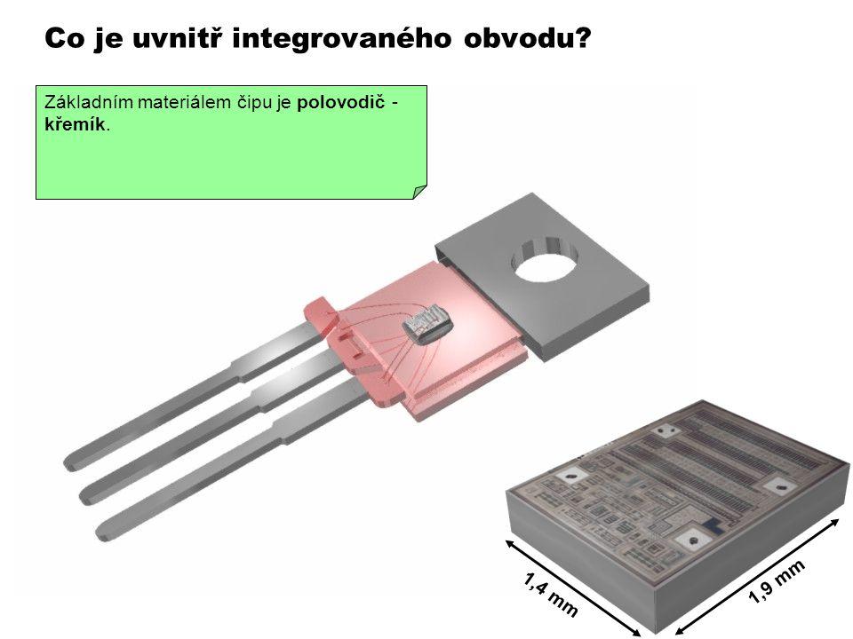 Co je uvnitř integrovaného obvodu? 1,4 mm 1,9 mm Když odstraníme černou hmotu z pouzdra, vidíme, že přívody směrují k malému kousku křemíku, ve kterém