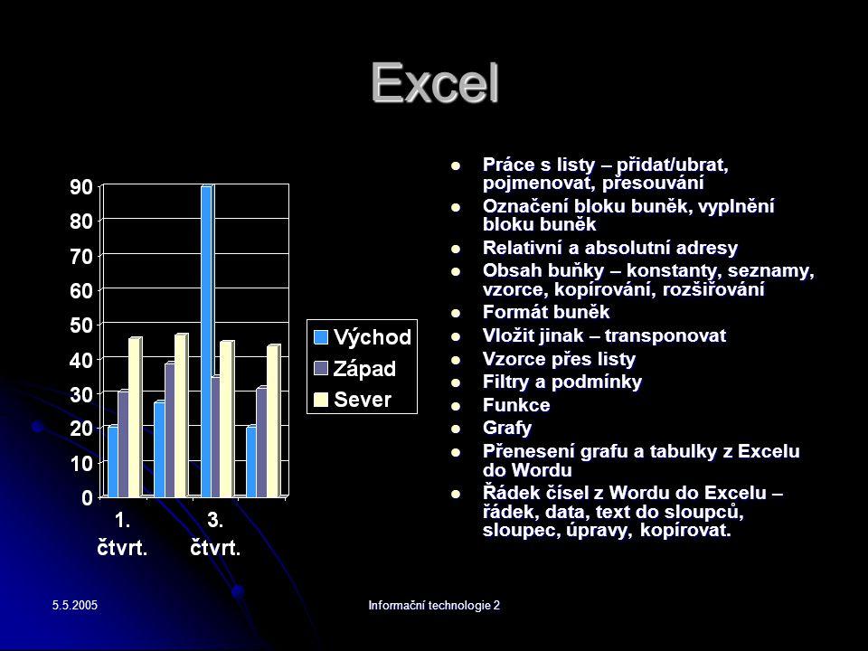 5.5.2005Informační technologie 2 Excel Práce s listy – přidat/ubrat, pojmenovat, přesouvání Práce s listy – přidat/ubrat, pojmenovat, přesouvání Označ