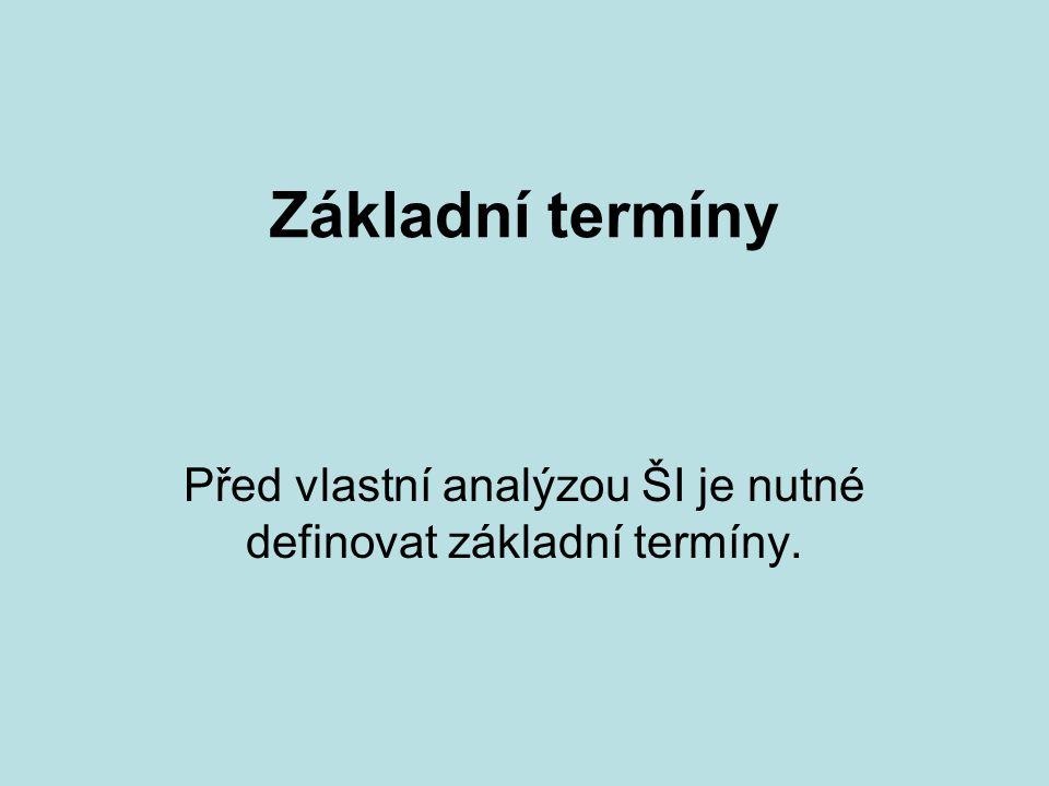 Základní termíny Před vlastní analýzou ŠI je nutné definovat základní termíny.