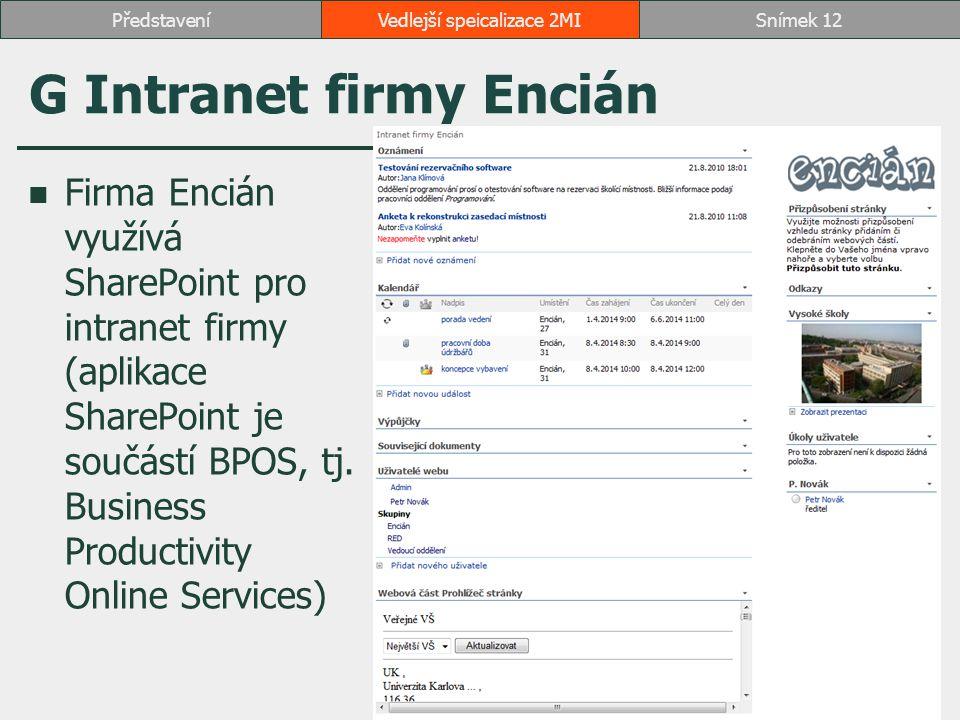 G Intranet firmy Encián Firma Encián využívá SharePoint pro intranet firmy (aplikace SharePoint je součástí BPOS, tj. Business Productivity Online Ser
