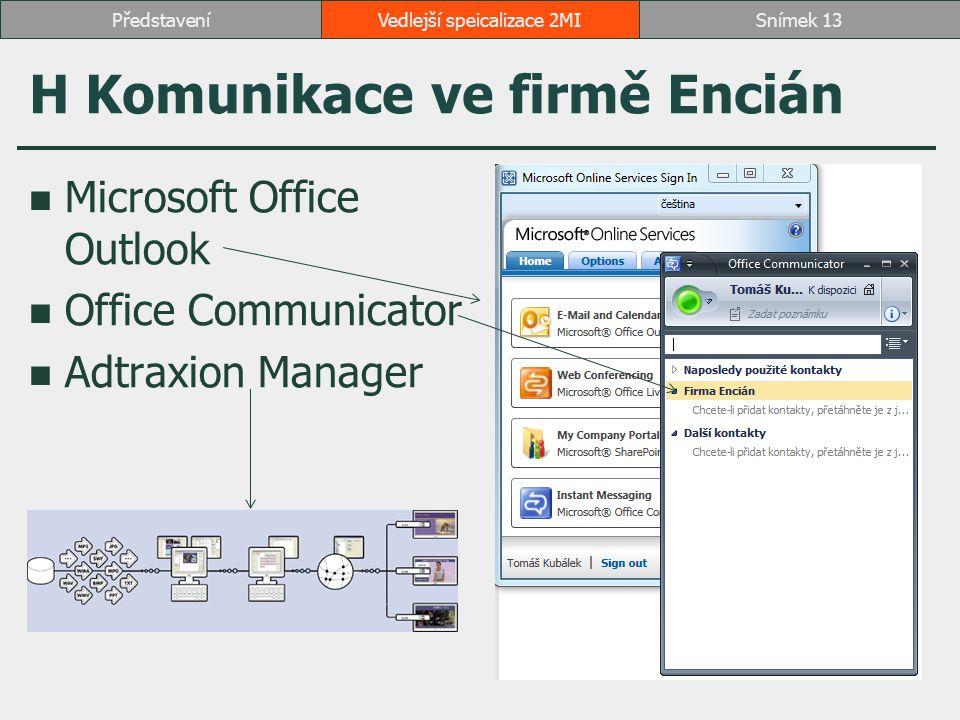 H Komunikace ve firmě Encián Microsoft Office Outlook Office Communicator Adtraxion Manager Vedlejší speicalizace 2MISnímek 13Představení
